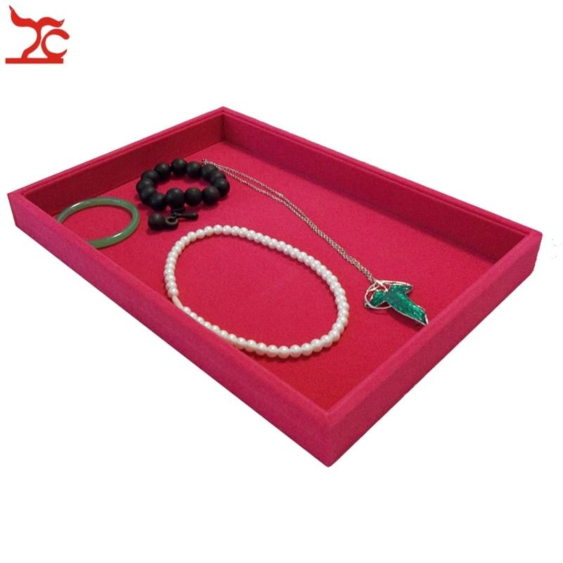 Retail High Quality Velvet Jewelry Display Cases Four Colors Necklace Bangle Bracelet Storage Organizer Flat Tray 35*24*3cm
