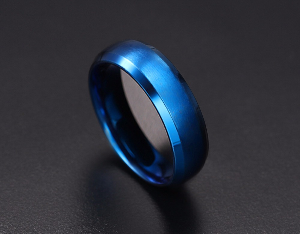 Mens Rings 6MM Wedding Band Stainless Steel Ring Men Jewelry Engagement Ring Comfort Fit Beveled Edges Black Blue Gold-color Decoration Accessories anillos masculino 11
