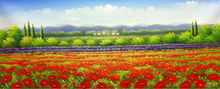 Hand Painted Knife Thick Flower Oil Painting on Canvas Beautiful Red flower Farm Landscape Wall Picture Painting for Living Room