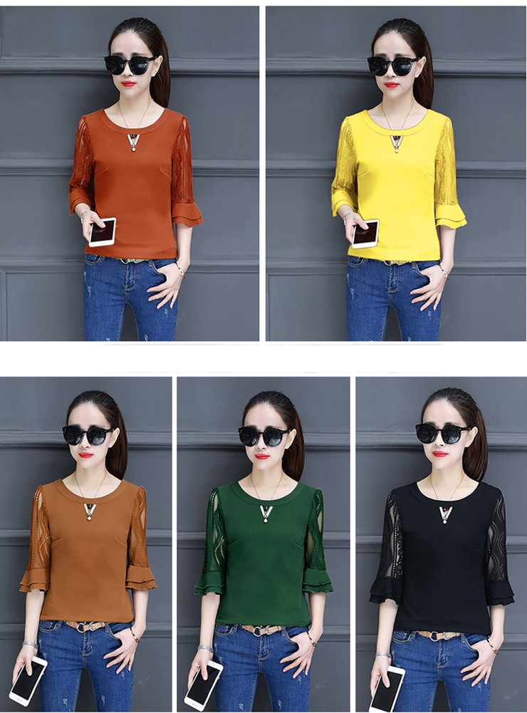 Women Blouse Summer Tops 2018 New Arrival Patchwork Blusas Mujer Lace Flare Sleeve Female Shirts Khaki Green Yellow  (1)