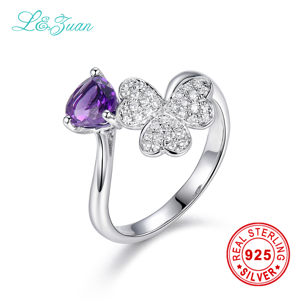 l&zuan Sterling Silver Jewelry Ring & Natural 1.60ct Amethyst Purple Stone Prong Setting Ring Jewelry For Trendy Women Ring