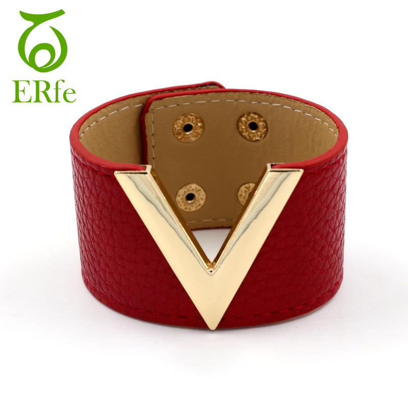 Women Wide Red PU Leather Bracelet Femme Cuff Wristband Braslet Ladies Hand Accessories Pulseira Couro WB001