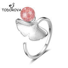 Todorova Korean Style Ginkgo Biloba Leaves Pink Strawberry Crystal Adjustable Rings for Women Fashion Lady Accessories