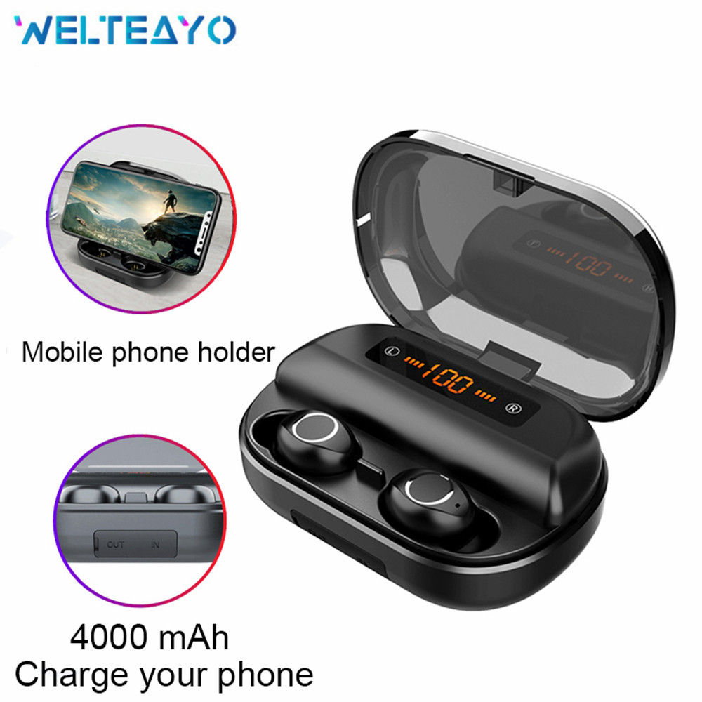 Wireless Touch Control Earbuds Mic Mini Bluetooth Headset Sports Stereo Game 4000mAh Earphone for iOS Android Phones Headphones