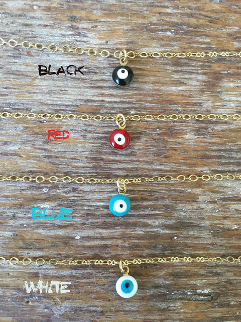 Mini Evil Eye Necklace, Delicate Women Charm Necklace XL255 2