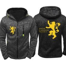 Game of Thrones House Lannister Winterfell Casual Jacket Hoodie Sweatshirt Zipper Coat 2019 Cosplay Costumes