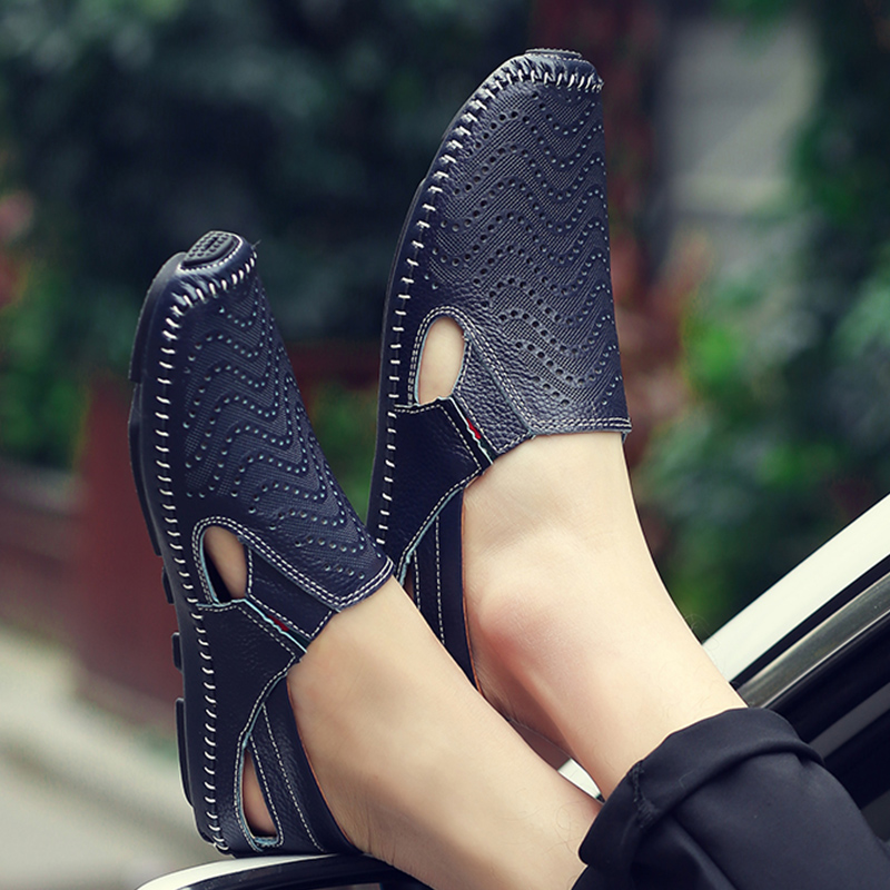 High Quality Men 39 s Genuine Leather Sandals Summer Leather Shoes 2019 Cutout Leather Sandals Men Business Driving Moccasins in Men 39 s Sandals from Shoes