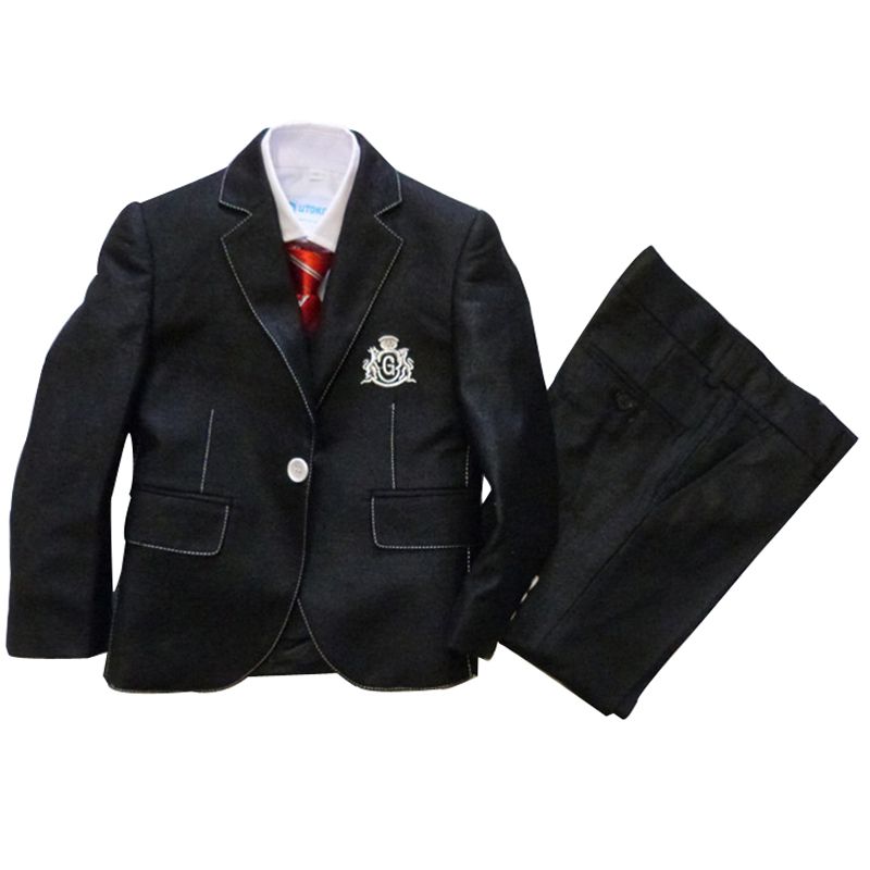Boys blazers weddings 3 pieces Kids black tuxedo suits Children formal clothing sets Baby birthday clothes - Super Costumes store