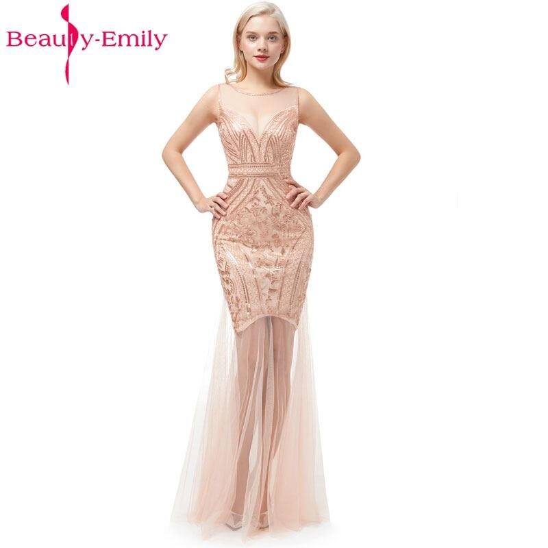 Beauté-Emily paillettes doré perles robes de soirée sirène longue formelle bal robes 2019 nouveau Style