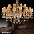 Хрустальная люстра в европейском стиле для гостиной  современная светодиодная хрустальная лампа для конференц-зала  большая Хрустальная л...