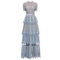 2019 Новое поступление голубое кружевное платье