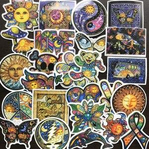 Image 2 - AQK 25 adet/grup renkli güneş ay isteyen dünya barış çıkartmalar Boho tarzı Bohemian Sticker kaykay bagaj Laptop gitar araba