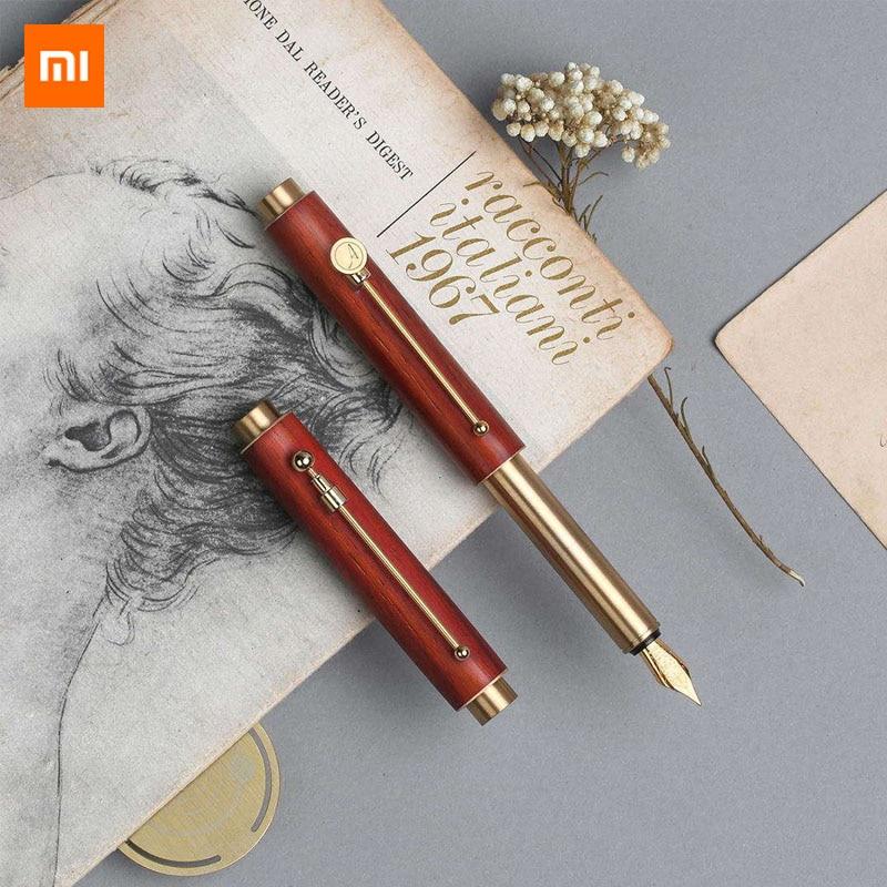 Xiaomi Mijia Youpin تصميم ساعة ضوء المحمولة قلم هدية مربع السلس الكتابة F تلميح 0.6 مللي متر عالية الجودة الخشب الكتابة القلم-في أقلام حبر من لوازم المكتب واللوازم المدرسية على  مجموعة 1
