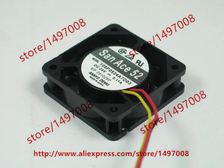 Free Shipping For SANYO 109P0524A7D03 DC 24V 0.11A 3-wire 3-pin connector 50mm Server Square Cooling Fan free shipping 24v dc mig welding wire feeder motor single drive 1pcs