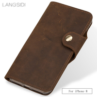 LANGSIDI Genuine Leather retro flip phone case For iPhone 8 6s 7plus x xs max soft silicon protect back cover with card slot