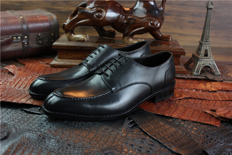 Black Genuine Calf Leather Hand Made Shoes, Handcraft Goodyear Welt Shoes for Man Plus Size 37-37
