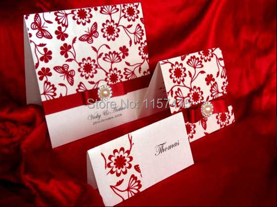 aliexpresscom buy hi6014 popular white wedding invitation cards with red flocking patterns and ribbon from reliable card acceptance suppliers on wedding