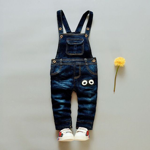 New 2016 Casual Cotton Cowboy Baby Pants Fashion Cute Cartoon Baby Boys Denim Bib Pants Thickening Pants for Baby 7-24 Month