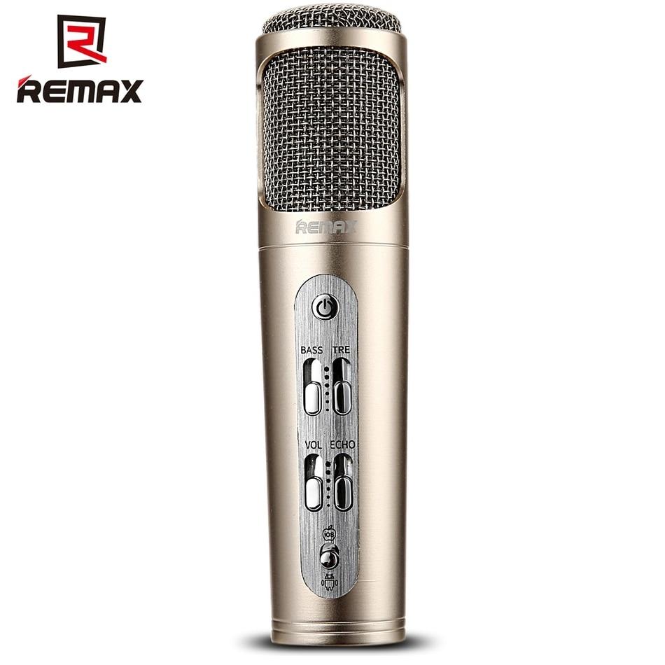 REMAX k02 DC 5V მიკროფონი ხმაურის გაუქმების მომღერალი ხელსაწყო შესაფერისია KTV შეხვედრაზე მხარდაჭერისთვის IoS Android სმარტფონი და კომპიუტერი