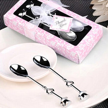 Stainless Steel Spoons Tea Coffee Spoon Set Wedding Favors Love Gift Valentine's Day(with Pink Gift box)(China)