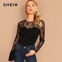 e745d3a9029 SHEIN negro de encaje en contraste Slim equipado camiseta fiesta manga  larga cuello redondo Sexy Slim Fit elástica camiseta 2019.