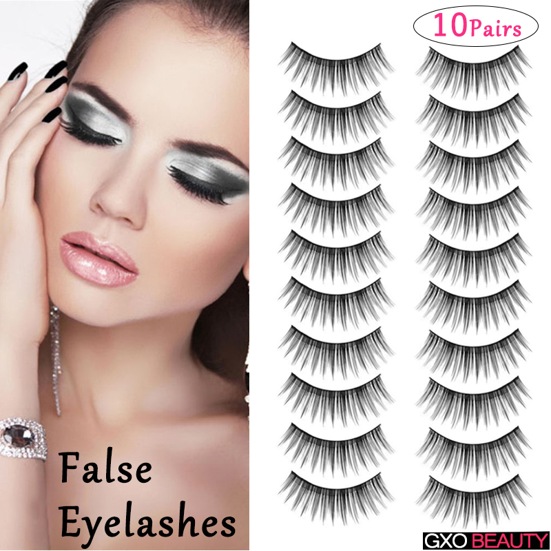 GXO BEAUTY 10 Pairs Ladys Beauty Kit Handmade Natural Thin Eye Lashes Extension Long Black False Eyelashes