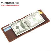 YUPINXUAN Vintage Cow Leather Wallets For Men Crazy Horse Leather RFID Blocking Card Holders RFID Protection