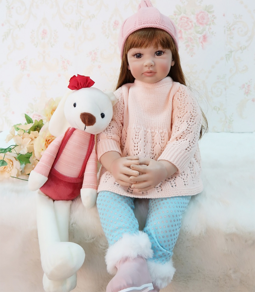 Pink Hat With Reborn Baby Girl Doll 61cm Silicone Baby Reborn Realistic Smooth Hair Princess Baby Toy For Children's Day Gifts