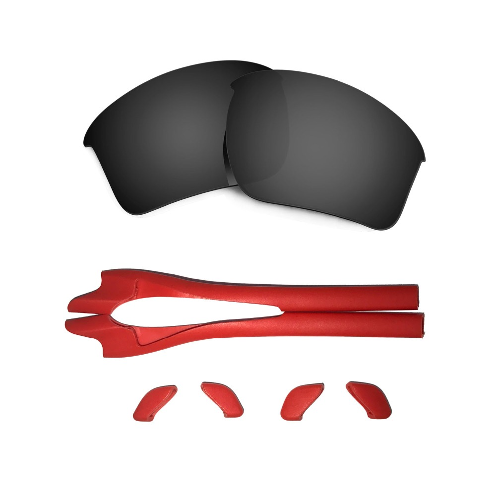 HKUCO For Oakley Flak Jacket Black/Silver Polarized Replacement Lenses And Red Earsocks Rubber Kit LrGMQNI