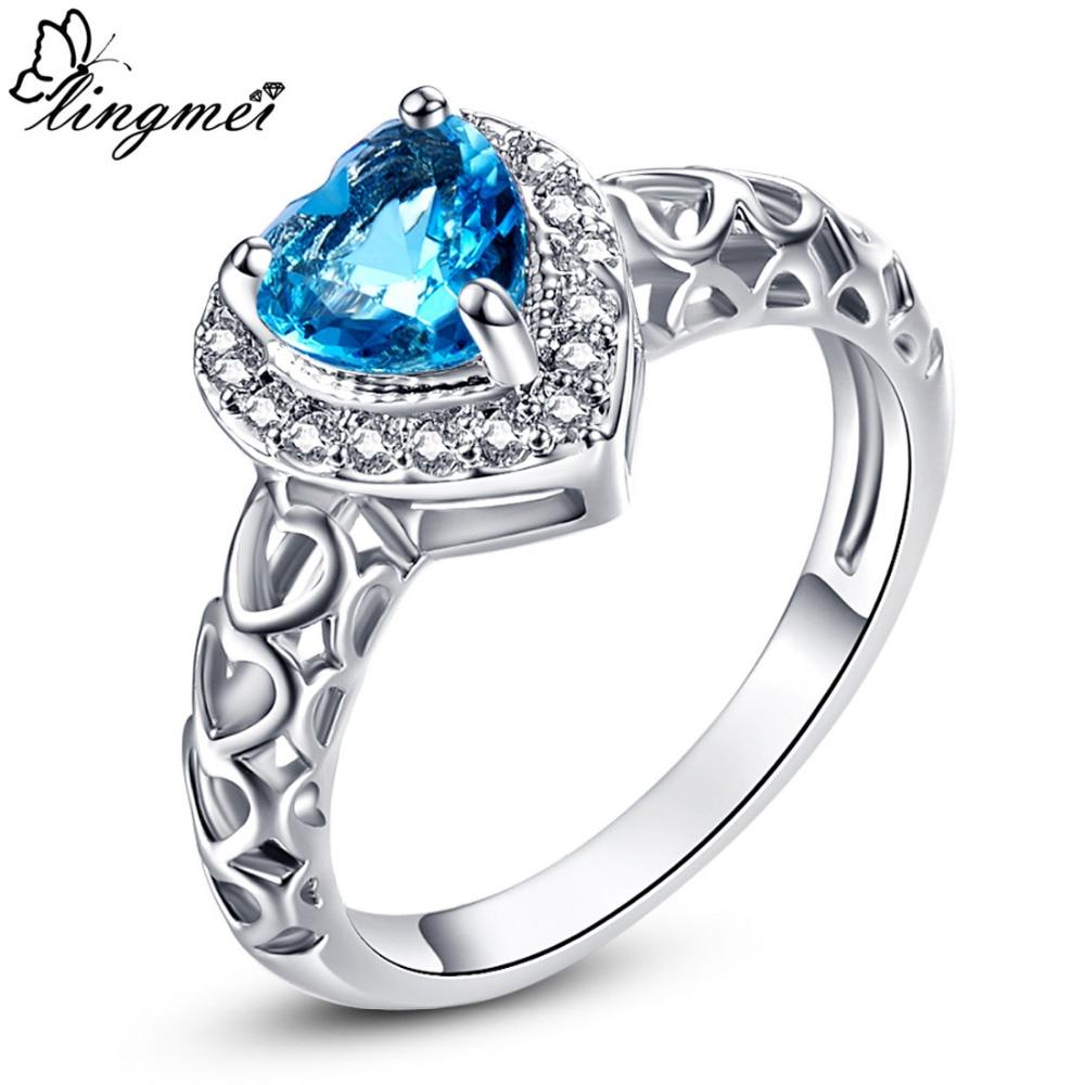 Lingmei प्यार दिल नीले और सफेद घन Zirconia चांदी के रंग की अंगूठी का आकार 6 7 8 9 10 प्रेमियों के लिए महिलाओं की शादी के कपड़े बंद पैकेजिंग