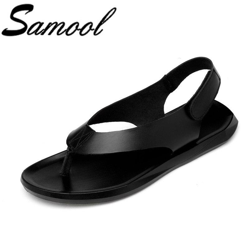 Men Casual Shoes Genuine Leather Sandals Men 2018 New Arrivals Flip Flops Slippers Plus Size 37-45 Summer Men Sandals wx5