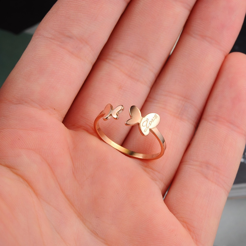 Rose Gold Color Stainless Steel Couple Dancing Butterfly Lovers Cute ...
