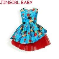 2017 Print Dream Tropical Ocean Dress Moana Dresses Infant Baby Girls Clothing Costume Children Party Kids