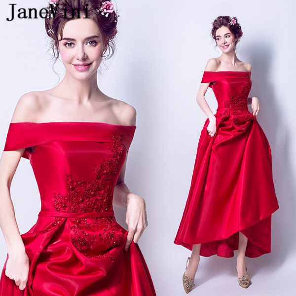 JaneVini Elegant Red Long   Bridesmaid     Dresses   A Line Boat Neck Lace Appliques Sequined Satin Floor Length Abito Damigella D'onore