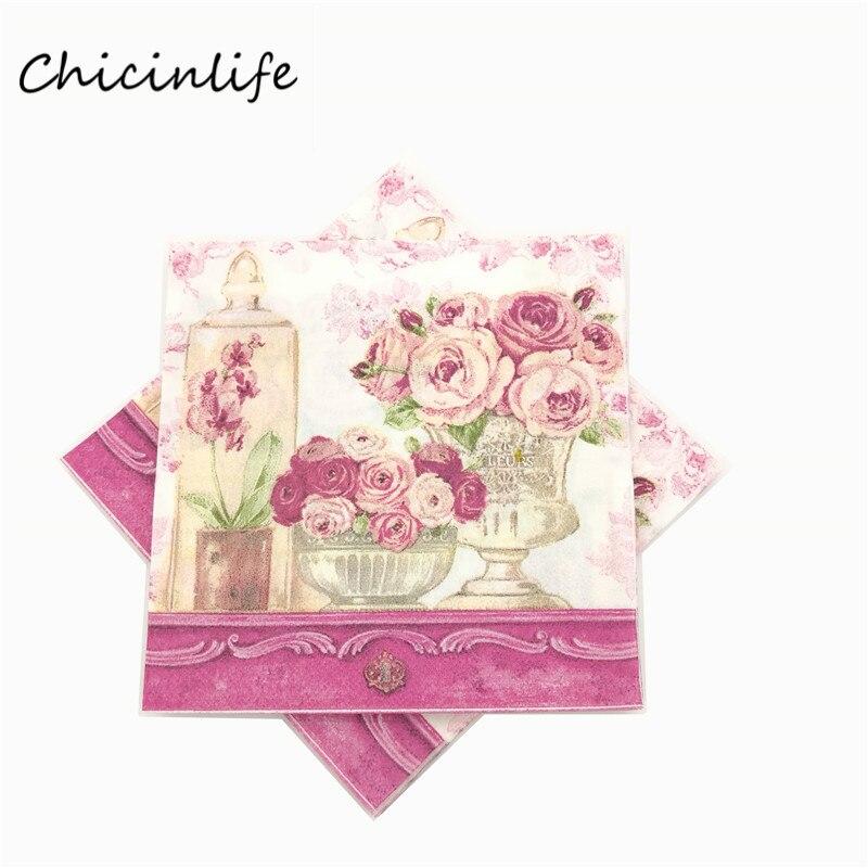 Chicinlife 20 unids/lote Flores De Papel Servilletas Decoupage Servilletas De Bo