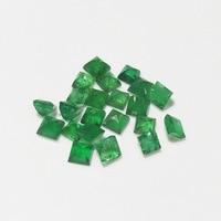 Rainbamabom 1 PCS Natural 3 * 3 MM Square Cut Genuine Emerald Loose Gemstone Birthstone Decoration Jewelry Wholesale Lots Bulk