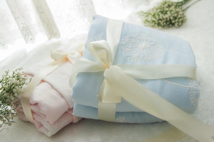 6 layers Muslin Bamboo Fiber Baby Blanket  Newborn Soft infant quilt for stroller/ crib /car- Lollipop/Dandelion/110cmX110cm