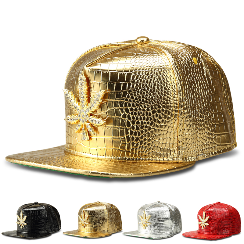 New Fashion PU Mens Hip Hop Weed Baseball Caps Casual Unisex Hats Gold/Silver/Red/Black Snapback Street Style