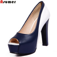 ASUMER 2018 new brand fashion women pumps peep toe platform shoes 10 cm high heels party wedding shoes woman sexy lady shoes
