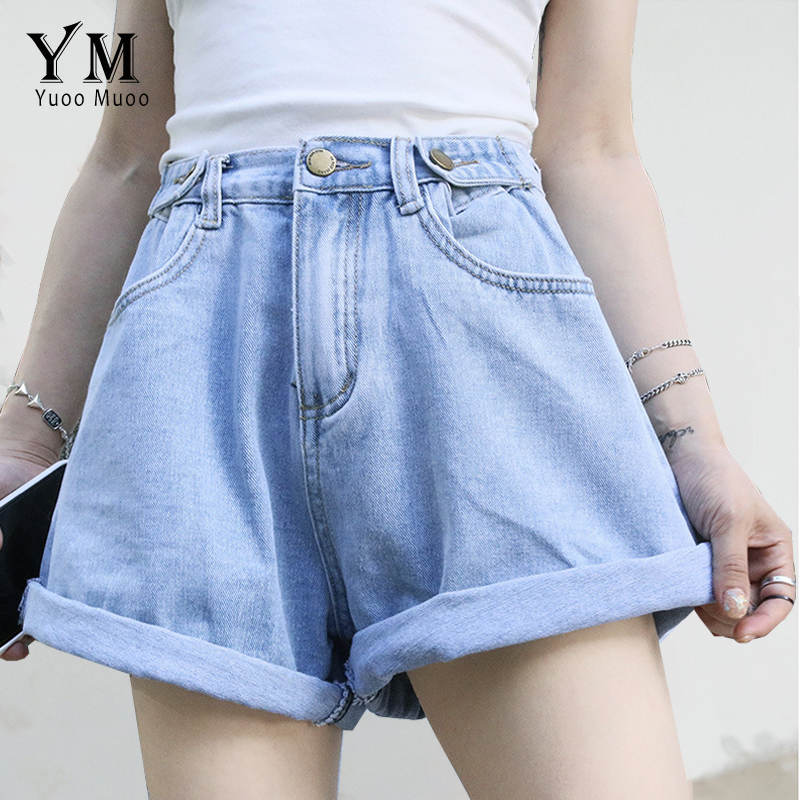 YuooMuoo Hot Front Pockets Curling Summer Denim Shorts Women 2019 Good Quality Comfy High Waist Vintage Jeans Shorts Loose Short