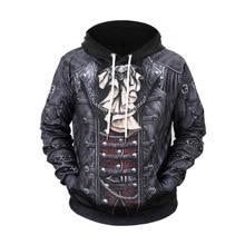 2019 New Gothic Skull Hoodie Mens Hip Hop Men / Womens Thin 3D Sweatshirt Print Fake Denim Jacket Pullover