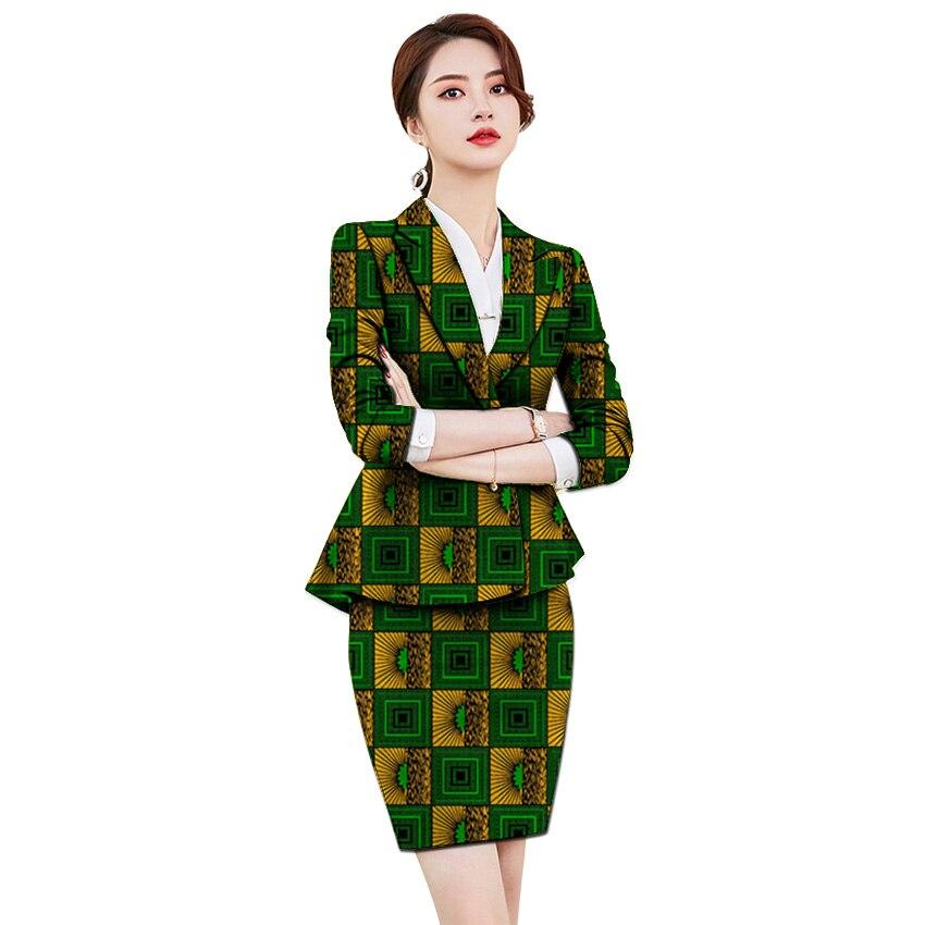 African Clothing Women Print Blazer With Skirt Ankara Fashion Skirt Customized Jacket Sets Female Outfits Dashiki Suits