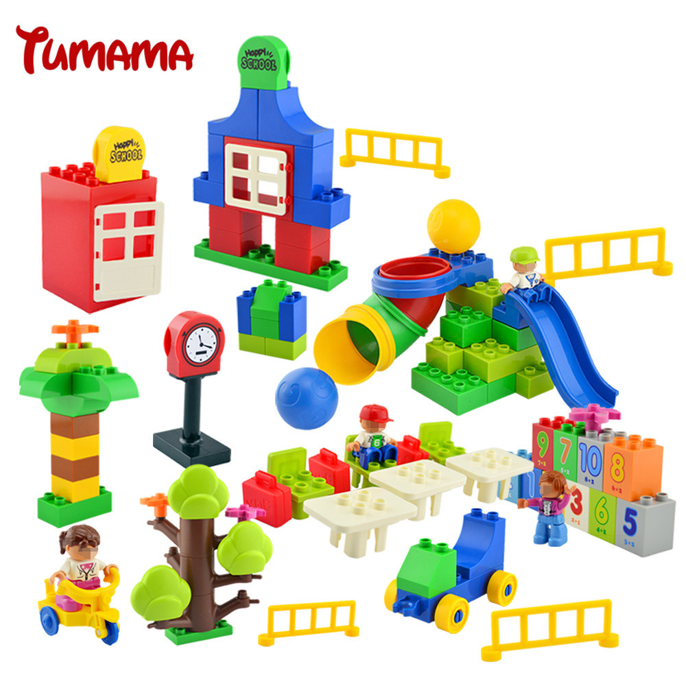 Tumama 106PCS Big Size Building Blocks Compatible with Legoed Duplo School Class Bricks Gift DIY Educational Toys For Children new big size 40 40cm blocks diy baseplate 50 50 dots diy small bricks building blocks base plate green grey blue