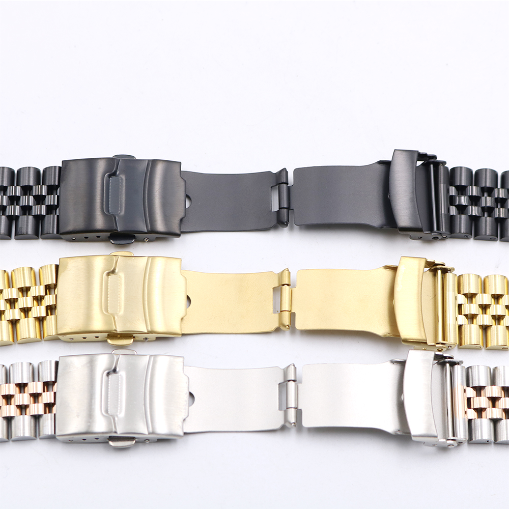 CARLYWET Wholesale 19 20 22mm Hollow Curved End Solid Screw Links Replacement Jubilee Bracelet Watch Band Strap For Dayjust in Watchbands from Watches