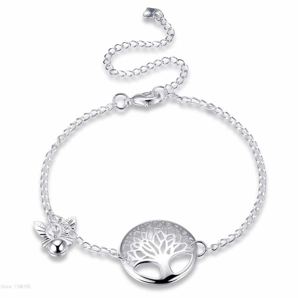 ขายส่งต้นไม้ Charms Anklets ผู้หญิงคริสตัลผีเสื้อ Bell ข้อเท้าสร้อยข้อมือเงินสีชายหาดหญิงเครื่องประดับของขวัญ