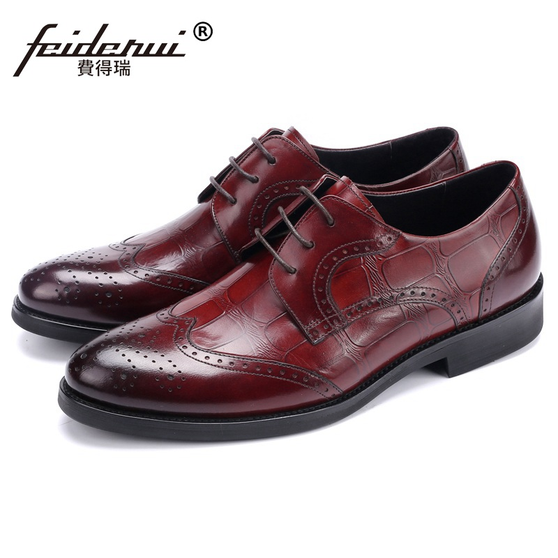 Classic Man Formal Dress Brogue Shoes Vintage Genuine Leather British Carved Oxfords Round Toe Men's Wedding Party Flats NH36 british designer handmade genuine leather men s oxfords round toe man semi brogue flats formal dress wedding party shoes hqs101