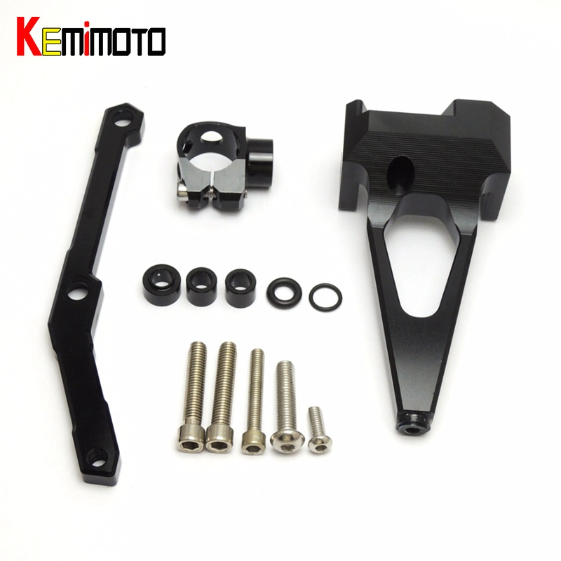 KEMiMOTO MT-09 MT09 FZ-09 FZ 09 Steering Damper Mounting Bracket For Yamaha FZ-09 MT 09 2013-2016 CNC Motorcycle Accessories gt motor motorcycle cnc steering damper stabilizerlinear reversed safety control with bracket for yamaha mt09 mt 09 fz 09 13 17