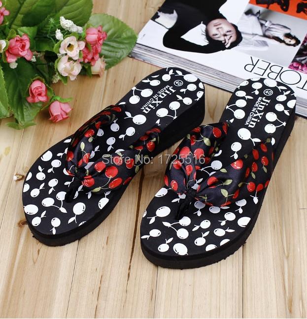 d982b1a424d2d 2015 Summer bohemia print cherry flip flops platform wedges for women  sandals platform flip slippers beach shoes free shipping-in Women s Sandals  from Shoes ...