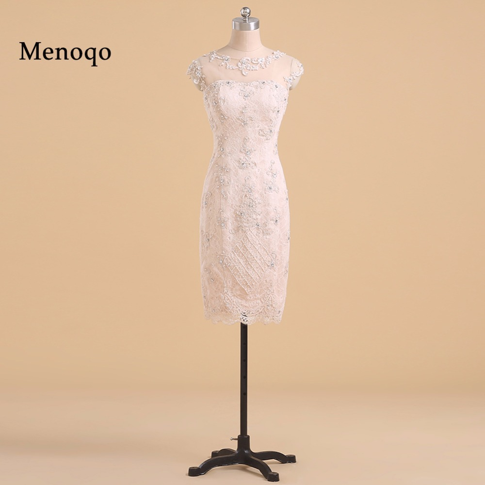 Real Photo Gorgeous Sheath Cap sleeve Beaded Applique Lace Party dresses Knee length  sexy short cocktail dress