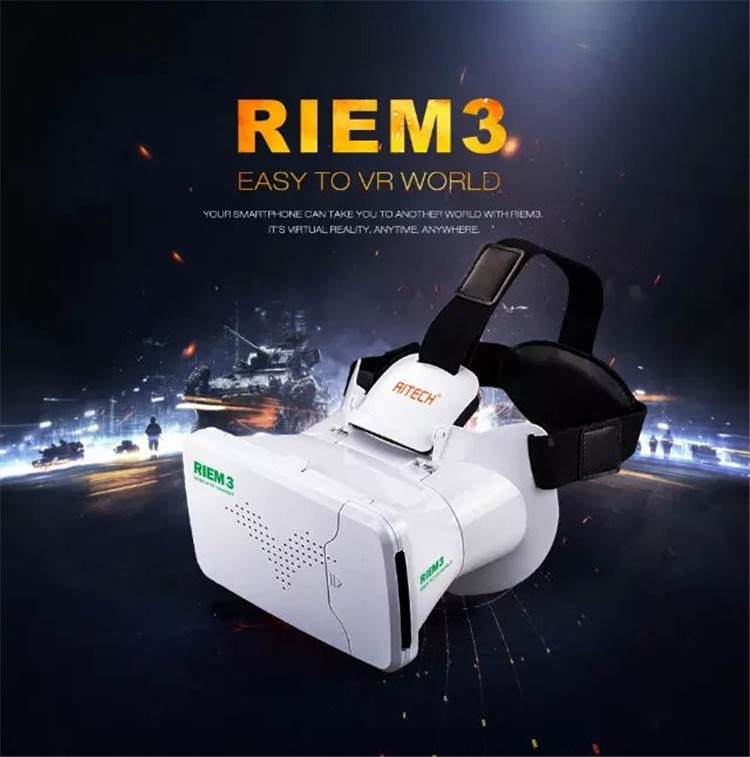 New Ritech III 3D VR Glasses RIEM3 Virtual Reality Head Mount Google Cardboard Oculus Rift DK2 Box for 4.7 ~ 6.0 Inch SmartPhone